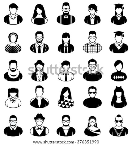 People icons in black and white. - stock vector