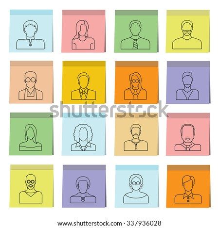 people icons in sticky note paper