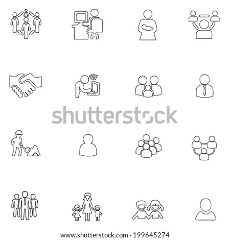 People icons line  drawing by hand Set 7 - stock vector