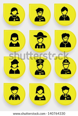 People icons on yellow button,vector - stock vector