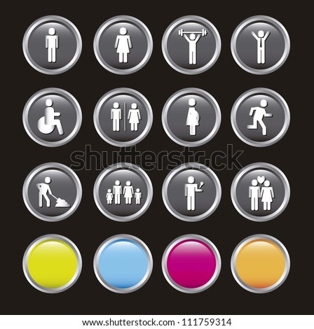 people icons over black background. vector illustration - stock vector