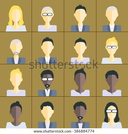 People icons. People Flat icons collection.flat design avatar app icons set user face people man woman vector.People avatar male and female human faces social network icons set isolated vector - stock vector