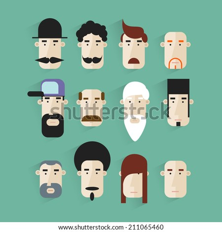 People icons.People Flat icons collection.Group cartoon people.Set of avatar flat design icons.People icons in flat modern style.Vector illustration.Portrait, face. - stock vector