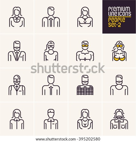 People icons, people line icons set, isolated stroke people icons collection - stock vector
