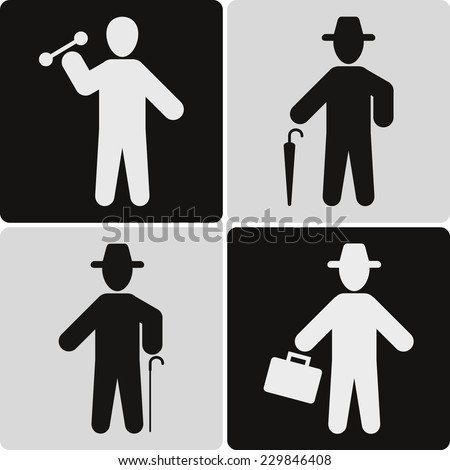 People icons set, black silhouette, vector illustration - stock vector