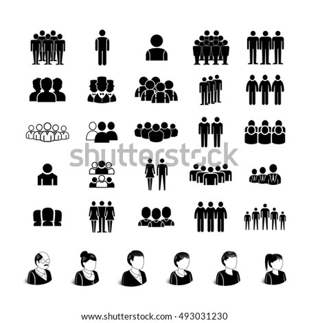 People Icons Set - Isolated On White Background. Vector Illustration