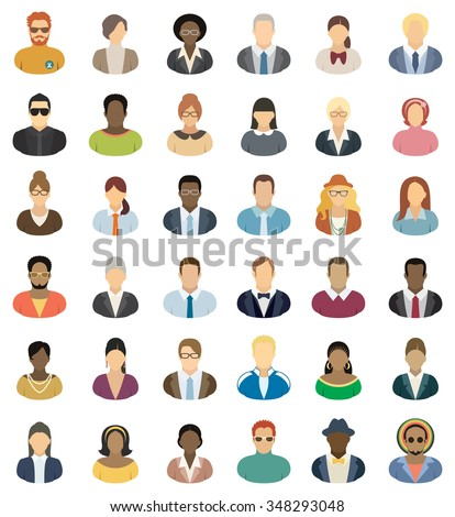 People Icons - Set of thirty-six people icons. - stock vector
