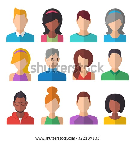 People Icons Set. Team Concept. Flat Style Modern Design. Vector Illustration