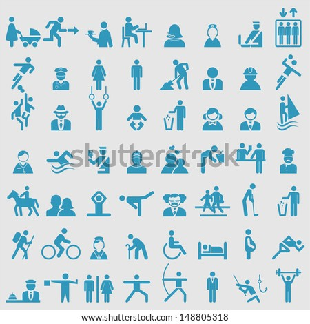 People icons set. Vector  - stock vector