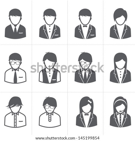 People Icons set with White Background - stock vector