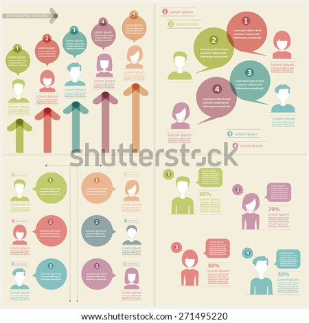 people icons with chat speech bubbles infographics set - stock vector