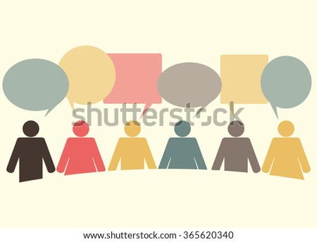 people icons with colorful dialog speech bubbles. Communication - stock vector