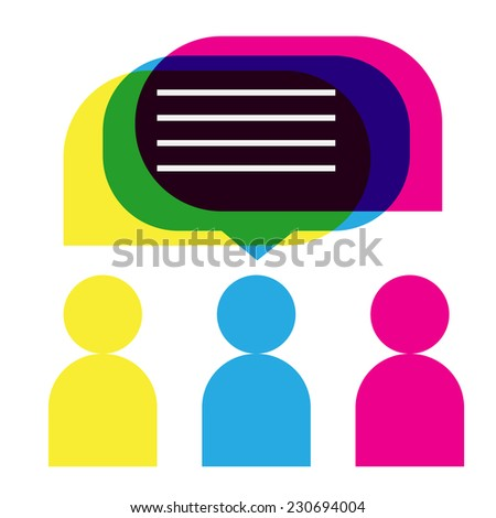 people icons with colorful dialog speech bubbles in flat style. The idea of communication. - stock vector