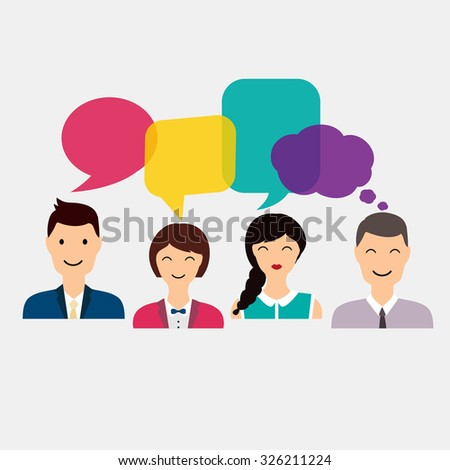 People icons with colorful dialog speech. Social Network and Social Media Concept. Business flat vector illustration. - stock vector