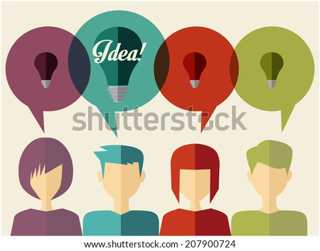 people icons with dialog idea speech bubbles - stock vector