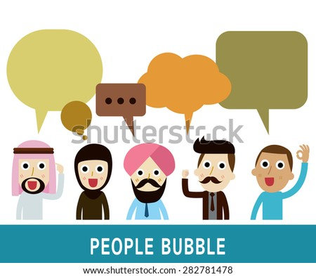 people icons with  dialog speech bubbles.businessman character cartoon design.nationality arab, Caucasian, African,hipster, vector illustration. - stock vector