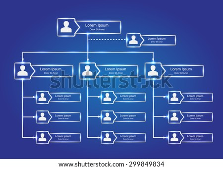 People Icons with Glowing Rectangle Organizational Chart Infographics, Business Structure Concept, Business Flowchart Work Process, Blue Abstract Design, Vector Illustration.