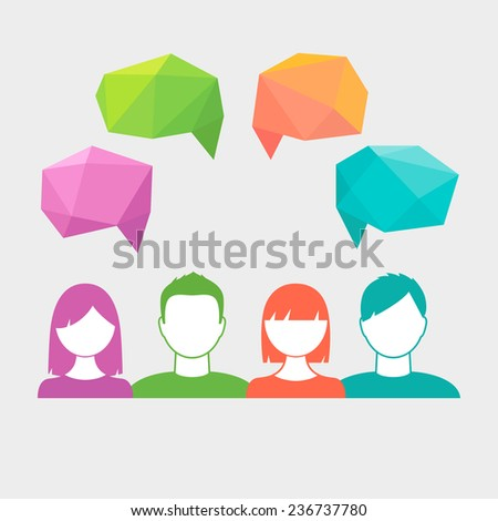 People Icons with Polygonal Speech Bubbles. Communication, Teamwork, Brainstorming and Collaboration Concept