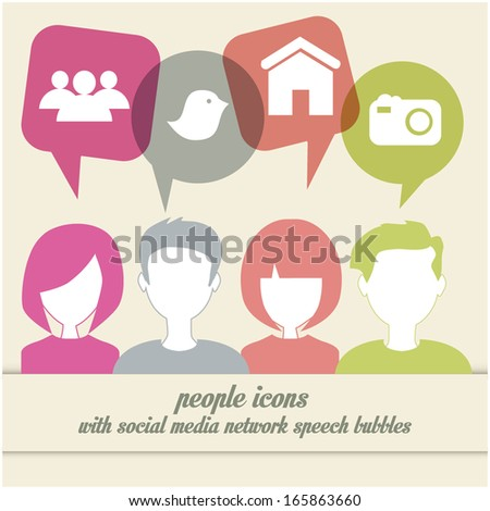 people icons with social media network speech bubbles - stock vector