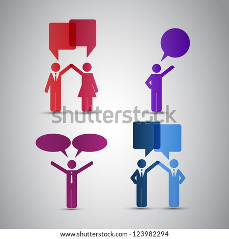 People Icons with Speech Bubbles - stock vector