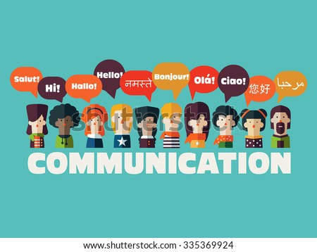 People icons with Speech Bubbles in different languages. Communication and People Connection Concept. Flat Design. Vector Illustration - stock vector