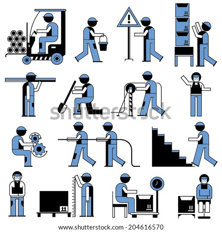 people icons, working people in construction work, cargo industry, workshop