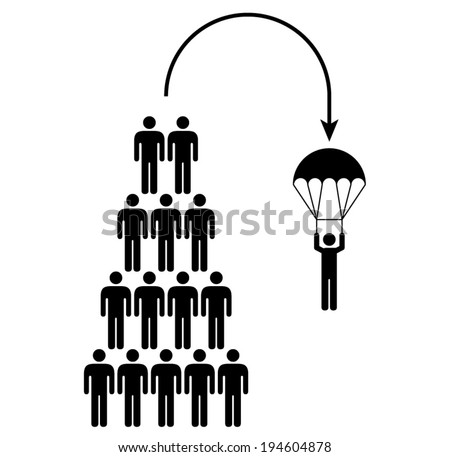 People icons: workplace and business concepts. Golden parachute from the top. - stock vector