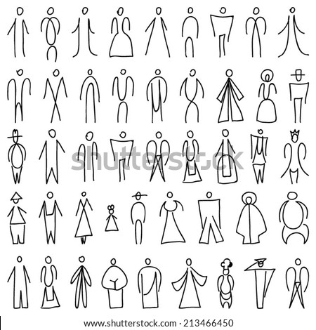 People image, different character, silhouette in lines, linear illustration - stock vector