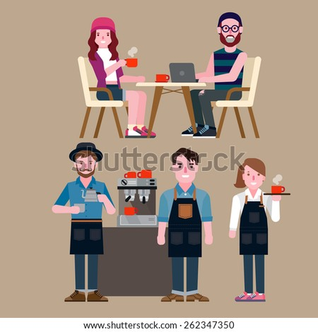people in a coffee shop - stock vector