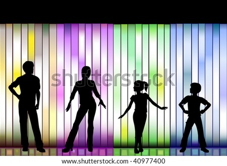 People in a Family Clothing Fashion Show on a colorful Background - stock vector