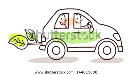 people in a green car - stock vector