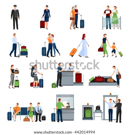 People in airport flat color icons set of pilot stewardess tourists with travel bags at checkpoint and security screening isolated vector illustration  - stock vector