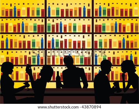 people in bar vector - stock vector