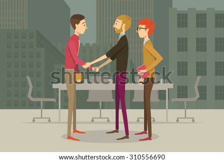 People in business casual outfits giving each other an agreement handshake  - stock vector