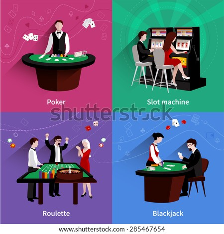 People in casino design concept set with flat poker slot machine roulette blackjack icons isolated vector illustration - stock vector
