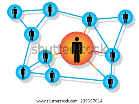 People in circles ,connected  - stock vector