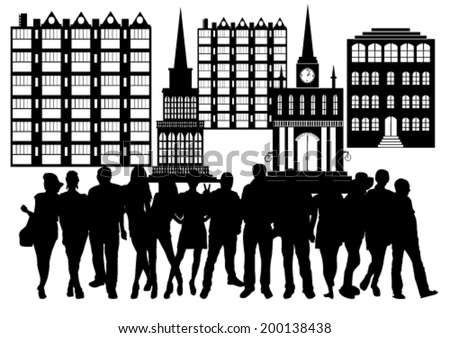 People in City Silhouettes Set - stock vector