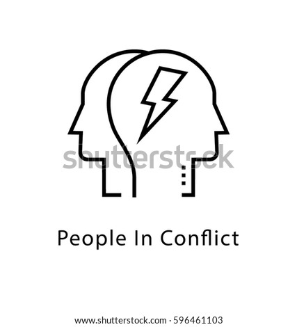People Conflict Vector Line Icon Stock Vector Hd Royalty Free
