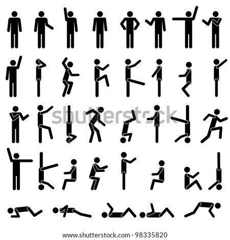 People in different poses vector. Icon Sign Symbol Pictogram - stock vector