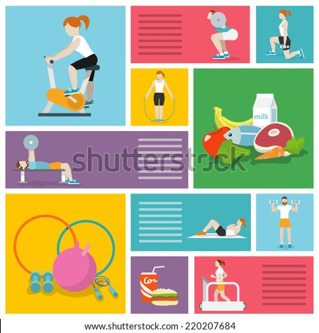 People in gym sport workout exercises decorative icons set isolated vector illustration - stock vector
