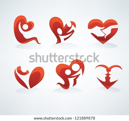people in love, happy family and couples vector symbols collection - stock vector