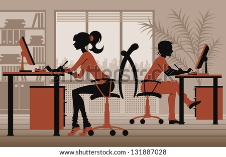people in office - stock vector