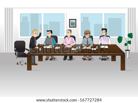 People In Office - Vector Illustration, Graphic Design Editable For Your Design. Team Working In Office.Successful Business Partners Discussing Ideas At Meeting. Caucasian People. - stock vector