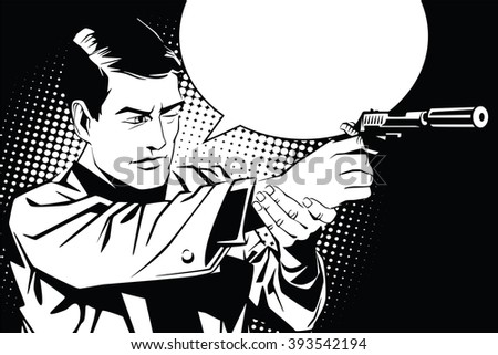 People in retro style pop art and vintage advertising. A man with a gun.