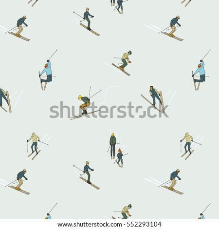 PEOPLE IN SKI SPORT ACTIVITY. Designed pattern.Vector illustration file. Editable and repeatable.