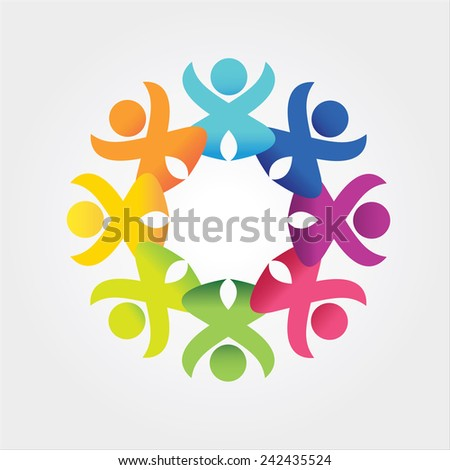 people in social community celebrating success - stock vector