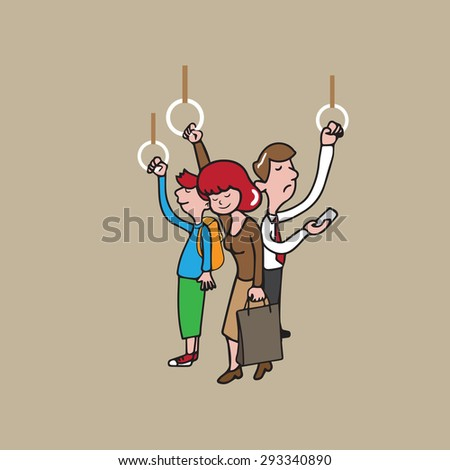 People in subway mass transportation  - stock vector