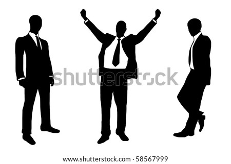 people in suit silhouette - stock vector