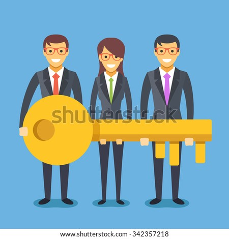 People in suit with key. Successful teamwork concept. Woman and 2 men hold a key. Modern flat design concept for web banners, web sites, printed materials, infographics. Flat vector illustration - stock vector