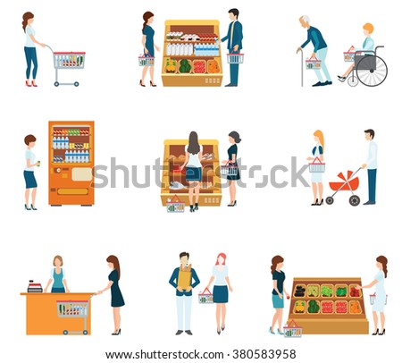 People in supermarket grocery store, supermarket, people shopping, family supermarket, vector illustration. - stock vector